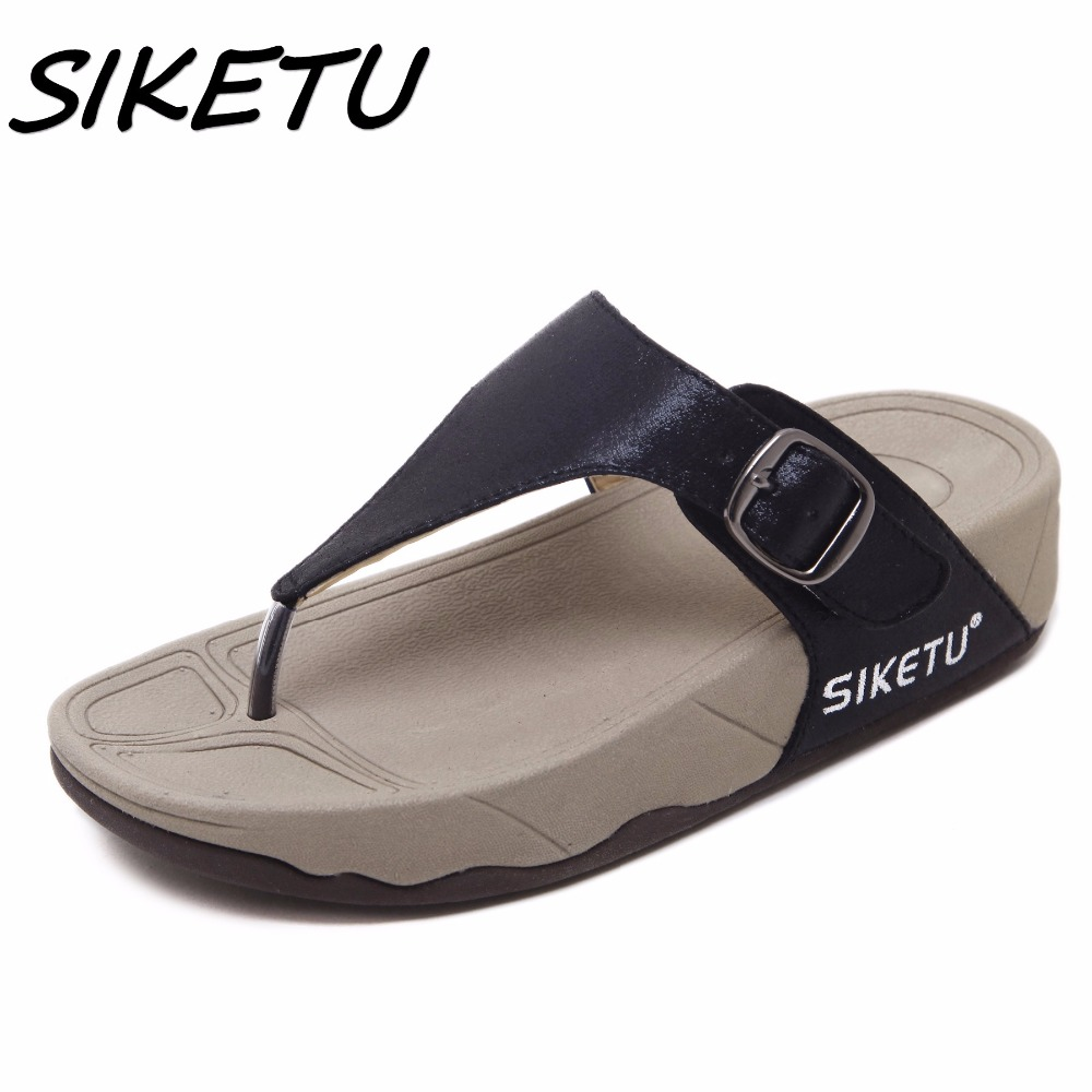 SIKETU hot sell women summer Comfortable Breathable Flat sandals shoes woman flip flop Buckle causal beach sandals size 35-40 sandals 2016 new famous brand buckle womens flip flop sandals summer beach sandals af327