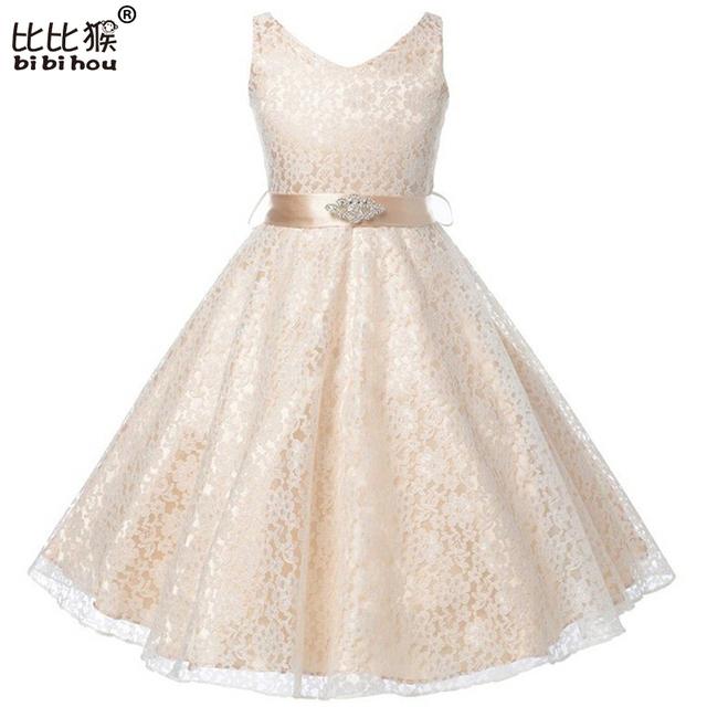 3-12yrs Niños Vestido de la Muchacha Niños Girs Vestidos de Verano 2016 Del Partido de Tarde de dama de Honor de La Boda de La Princesa de Encaje Traje Ropa de Las Muchachas