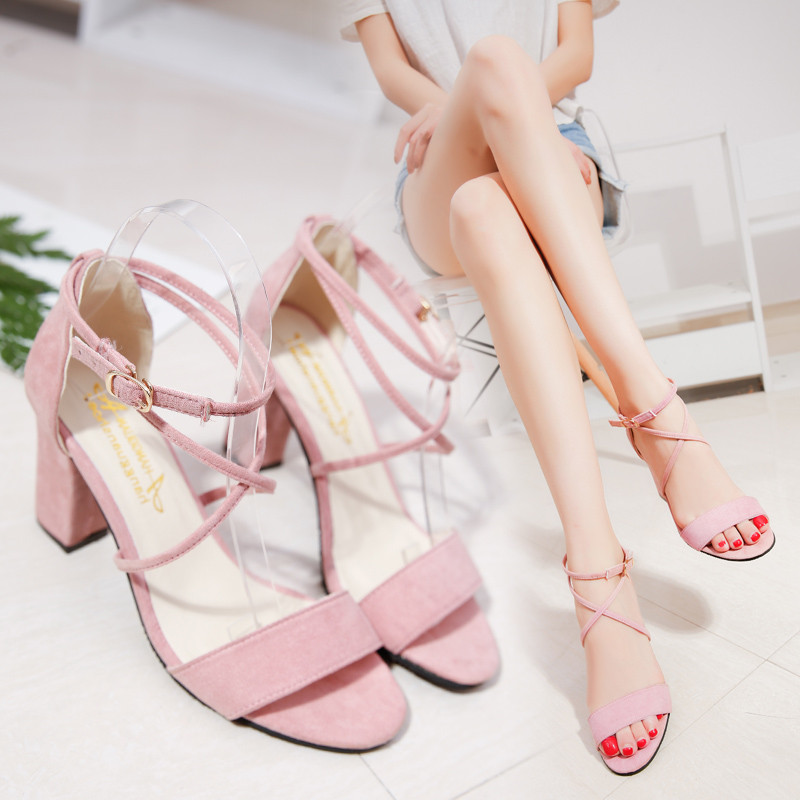 Roman sandals female summer word bandage 2018 new summer sweet pink students thick with high heels shoes s193