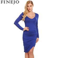 FINEJO Women Dress Sexy Autumn Hot Bodycon Scoop Long Sleeve Asymmetrical Hem Ruched Casual Vestidos Sheath Slim Fit Fashion
