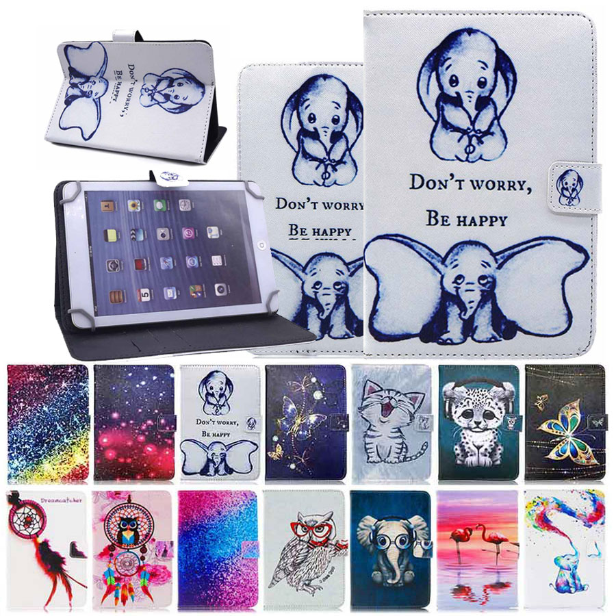Universal Case Cover For 9.7 10 10.1 Inch Tablet PC For IPad Samsung Lenovo ASUS Cube Alcatel Cartoon Print Leather Stand Cover