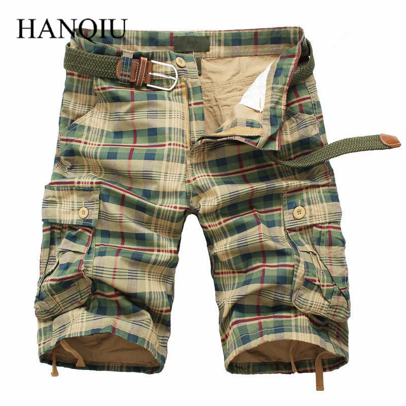 Men Shorts 2017 Fashion Plaid Beach Shorts Mens Casual Camo Camouflage Shorts Military Short Pants Male Bermuda Cargo Overalls