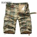 Pantalones Cortos de los hombres 2017 Moda Plaid Beach Shorts Mens Casual Camo Pantalones Cortos de Camuflaje Militar Pantalones Cortos Hombres Bermudas Trajes de Carga