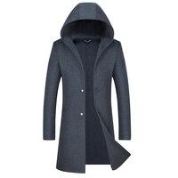 С капюшоном Для мужчин куртки длинное однотонное Цвет двойной пряжкой Тренч 100% шерстяное пальто Повседневное пальто для мужчин куртки верх