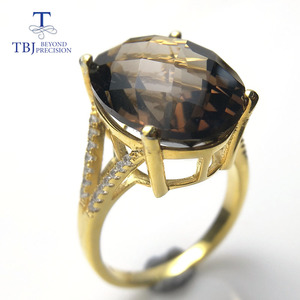 Image 3 - TBJ,Big 11ct smoky gemstone ring  in yellow gold color 925 sterling silver gemstone jewelry for girls with gift box