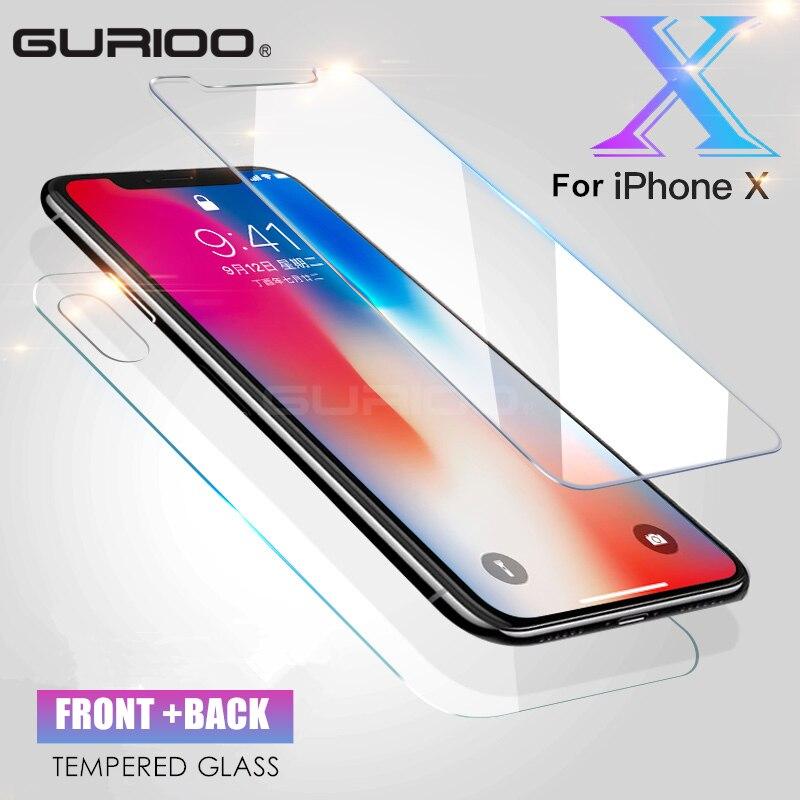 GURIOO спереди + Back Полное покрытие Плёнки для iPhone X закаленное Стекло Экран Protector 5,8 дюймов жесткая Защита Guard