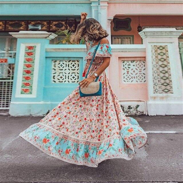 Raisevern Off Shoulder Women Bohemian Dress Vintage Floral Print Beach Boho Long Dress Big Swing Maxi Dresses Vestidos