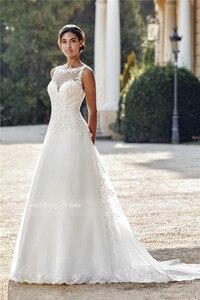 Image 5 - Illusion Sabrina A Line Tül gelinlik Dantel Aplikler Kolsuz v geri Süpürme Tren gelin elbiseleri vestido branco