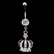 2018 Hot Sale New Fashion Crown Charm Rhinestone Body Piercing Jewelry Belly Button Ring Navel Jewelry Body-0164 Drop Shipping(China)