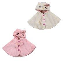 Cute Cartoon Cat Baby Jacket Kid Girls Fur Hooded Coat Hoode