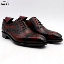 Cie sapatos de casamento dos homens vestido patina vinho grão cheia genuíno bezerro outsole couro masculino ternos formais feitos à mão no.4