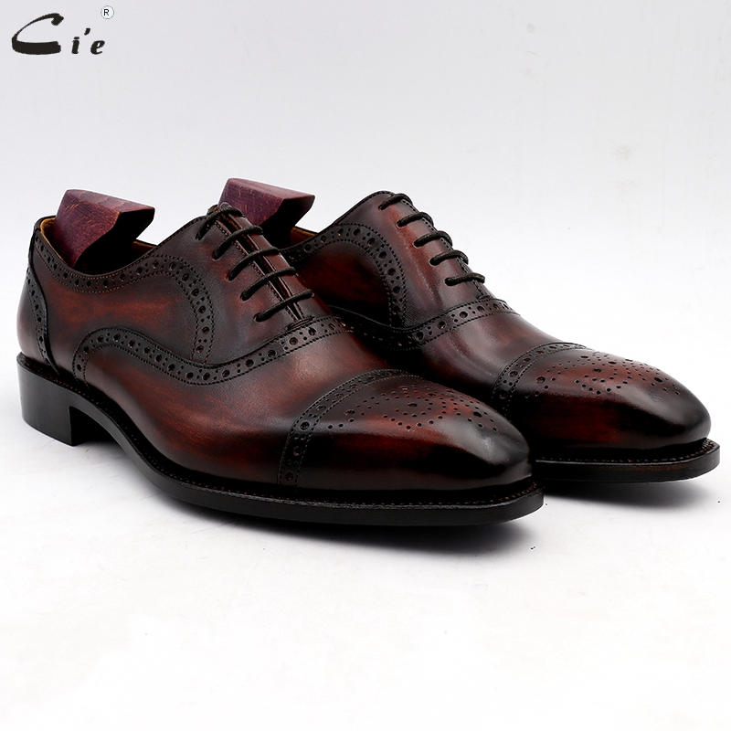 cie wedding shoes mens dress shoe patina wine dress shoe genuine calf leather outsole men suits formal leather handmade No.4