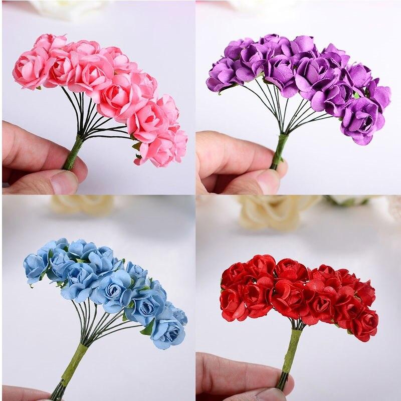 144pcs Mini Cute Paper Rose Handmade Artificial Flower For Wedding Decoration DIY Wreath Gift Scrapbooking Craft Fake Flower2017