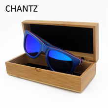 Newest Skateboard wood sunglasses for women men polarized driving sport sun glasses blue frame mirror gafas de sol mujer hombre