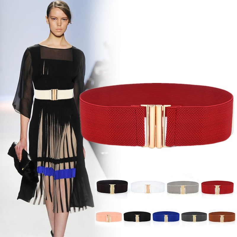 HUOBAO Women Wide Elastic Waist Belt Dress Accessories Stretch Corset Metal Buckle