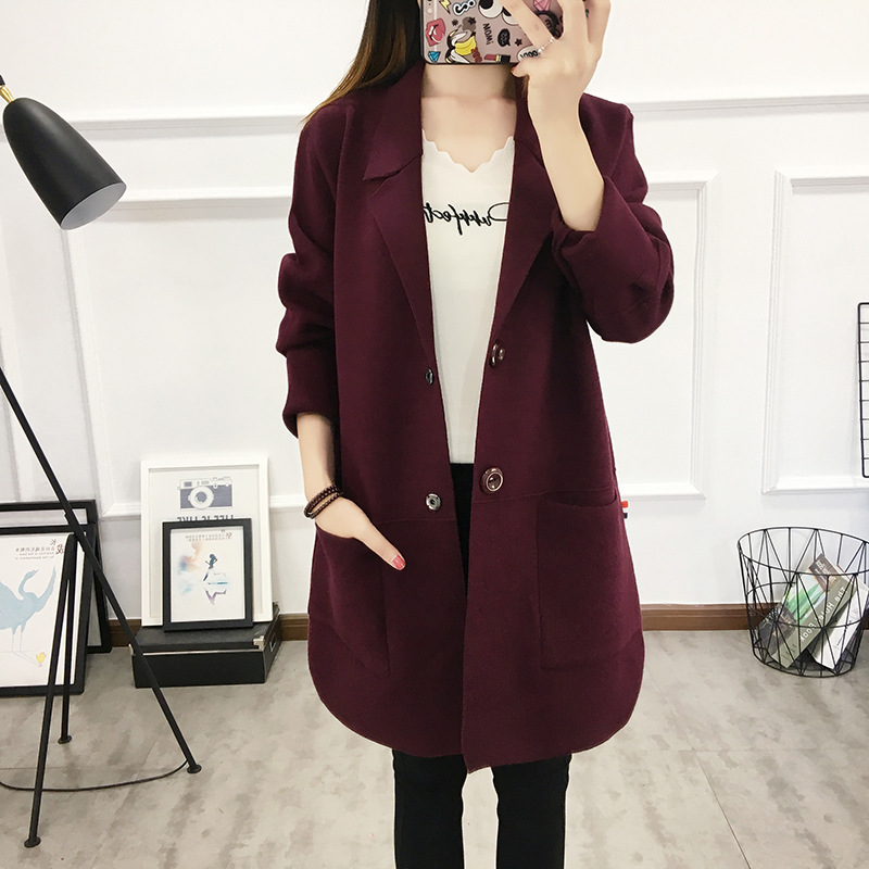 Casual Fit Nouveau Cardigan Tricoté Pour Gray Purple Manteau Femmes cyan Mince Coréen Solide Automne Couleurs black Femelle green Long Vêtements Printemps grape Slim Cinq rwqr0Iv