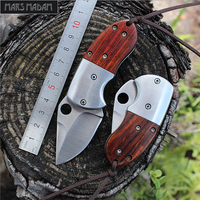 Free Shipping High Hardness Sharp Outdoor Wooden Handle Stainless Steel Knife Card Mini Knife 7 Chrome