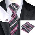 2016 Moda Blanco Fucsia Negro Plaid Corbata Hanky Gemelos 100% de Seda Corbatas Corbatas Para Los Hombres de Negocios Formal Wedding Party C-946