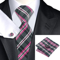 2016 moda branca preto fúcsia xadrez laço de lenço abotoaduras 100% seda gravatas laços para homens de negócios Formal festa de casamento C-946