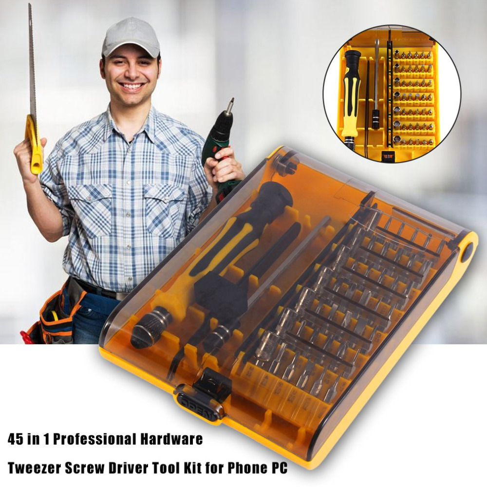 45 in 1 Professional Hardware Tweezer Screw Driver Tool Kit precision for Phone PC for iphone 4 5 6 7 8 X samsung huawei xiomi claudio orciani ремень