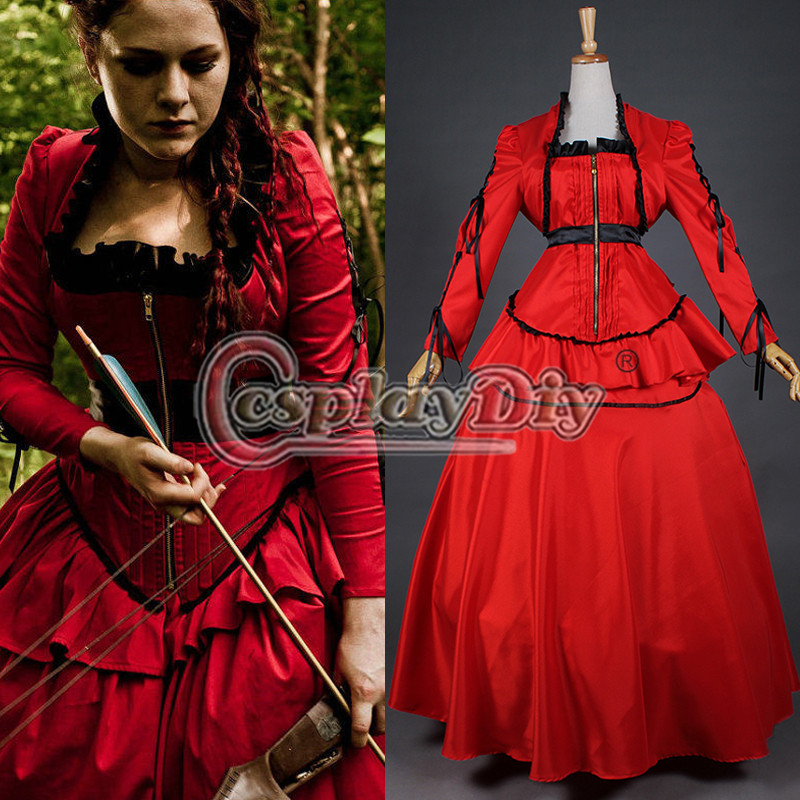 Medieval Victorian Gothic Red Medieval Vampire Ball Gown Renaissance