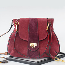 Retro Fashion Genuine Leather Handbag Saddle Bag with Key Women's Shoulder Messenger Bag Cross Body Bag Purse High Quality