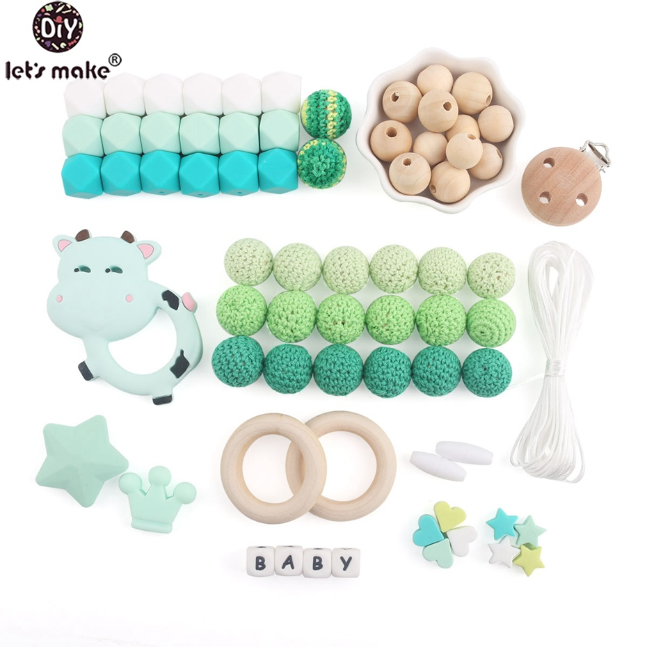 Let's Make Baby Silicone Accessory Beads Set Making DIY Jewelry Beads 1set  Baby Teether Shower Gift Teething Green Series
