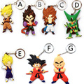 7 pcs Dragon ball z super saiyan 3 keychain set 7 cm 2016 novo Dragonball goku Gotenks figura de ação vegeta celular cadeia chave do carro