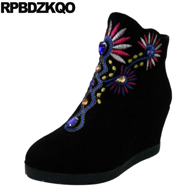 Women Ankle Boots 2016 Round Toe Embroidered 2017 Platform Suede Ladies High Heel Size 34 Fall Black Autumn Booties Shoes women ankle boots medium heel genuine leather booties vintage thick suede round toe chunky shoes slip on platform brown fall