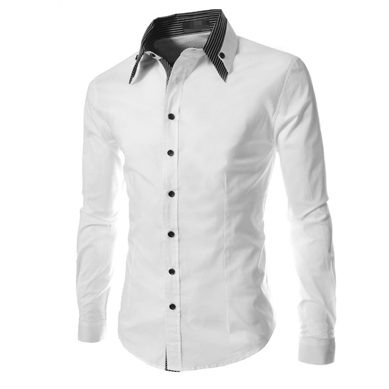 White Shirt Men Long Sleeve Ribbon Shirt Dress Slim Fit Casual ...