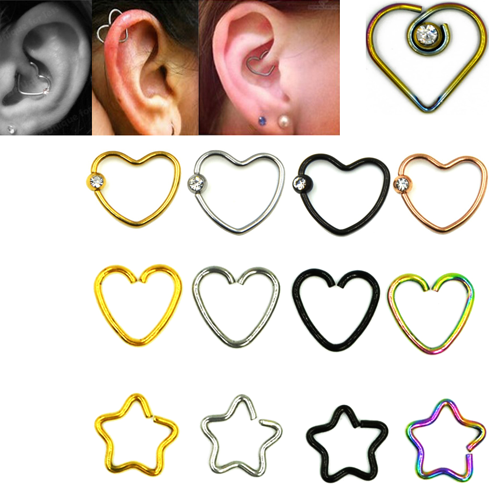 Showlove-2pcs Heart&Star Ear Helix Tragus Cartilage Studs Rings Piercing Earrings Nose Ring Surgical Steel Body Jewelry
