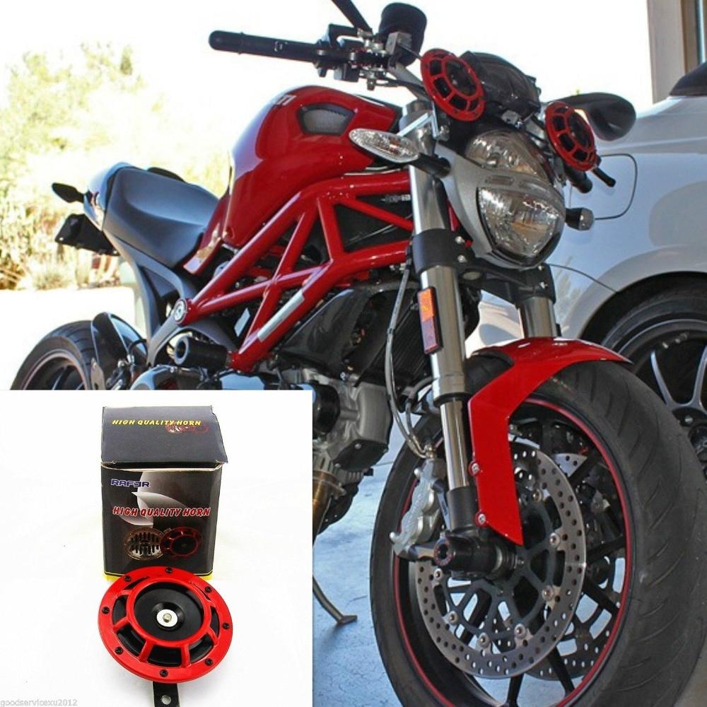 TWO BLACK SUPER LOUD ELECTRIC BLAST TONE HORN MOTORCYCLE CHOPPER 12V