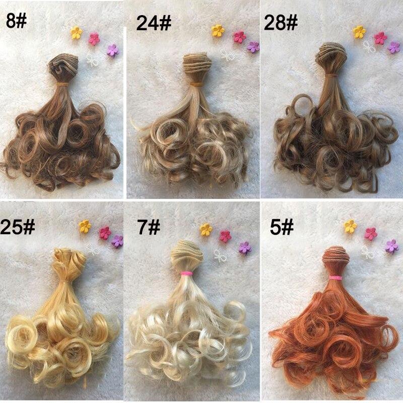 1PCS λιανικής πώλησης κούκλες 15CM περούκα DIY BJD φυσικά χρώματα σγουρά μαλλιά για κούκλα