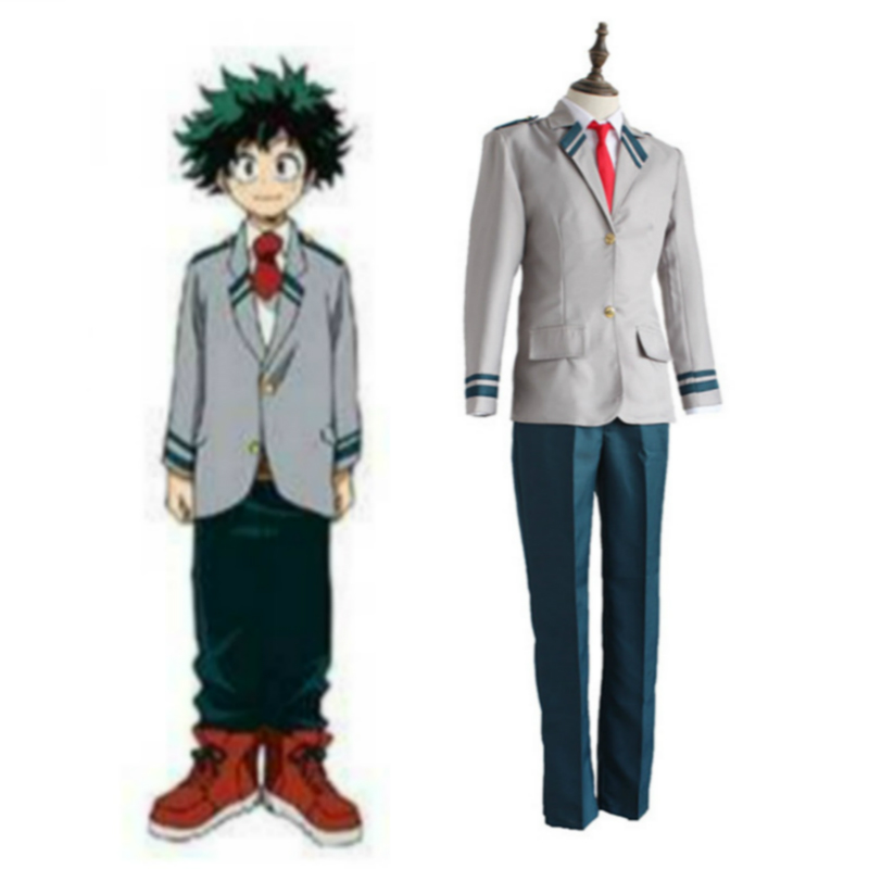 Anime Cosplay for Izuku Midoriya for Boku No Hero Academia School Uniform with Wigs Vestidos Costume Adult Halloween in Carnival