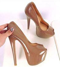 Carpaton Terbaru Peep Toe Platform Pompa Super Tinggi 16 Cm Sepatu Hak Wanita Sepatu Dangkal Slip-On Pesta Weding sepatu Hak