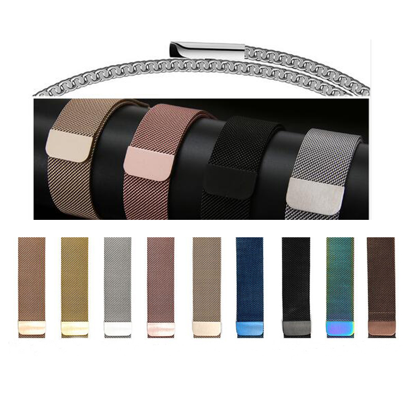milanese loop for apple watch Series 3 1 2 band for iwatch stainless steel strap Magnetic adjustable buckle with adapters цена