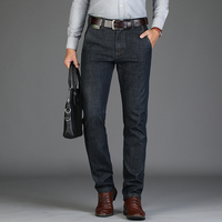 New Arrival Brand Jeans Men Smart Casual Straight Slim Fit Thicken Winter Fleece Jeans Deinm Overalls