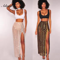 Adogirl Sexy Night Party 2 Piece Outfits Women Crop Top And High Split Glitter Skirt Suit