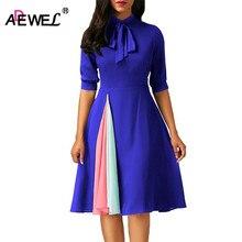 ADEWEL Autumn Half Sleeve A line Women Dress Patchwork False Slit Vintage Bow Tie Short Flare Elegant Vestidos De Renda