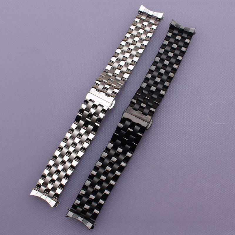 16mm 18mm 20mm 22mm 24mm High quality Silver Depolyment Watchband Black Metal Watch Bands Bracelets Common curved end flat ends