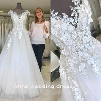 Scoop Neck Wedding Dress 2019 A Line Lace Tulle Skirt Bridal Gowns Vintage Vestido de Noiva Bride Dress - DISCOUNT ITEM  12% OFF All Category