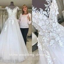 Scoop boyun düğün elbisesi 2019 bir çizgi dantel aplikler tül etek gelinlikler Vintage Vestido De Noiva
