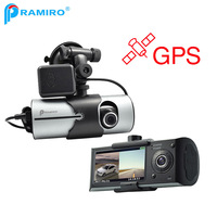 PRAMIRO Vehicle Mounted Car DVR With Double Cameras Front 140 Degree With Gps Logger Synchronous Recording