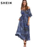 SheIn Ladies Dresses 2016 Summer New Arrival Vintage Womens Half Sleeve Off The Shoulder Tie Waist