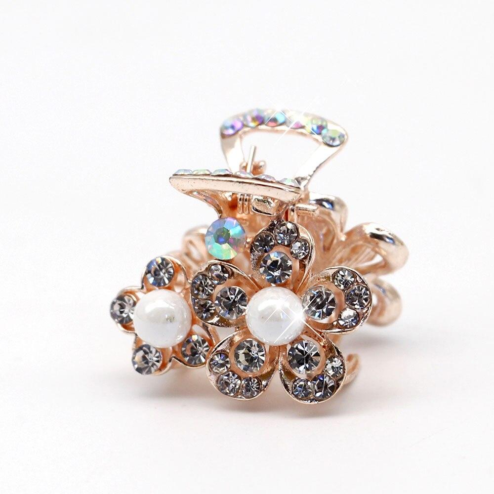 AINAMEISI Kiváló minőségű virágok Crystal strasszos ötvözött rák Pearl Hairpin karom csipesz Menyasszonyi ékszerek Fejfedők Kiegészítők