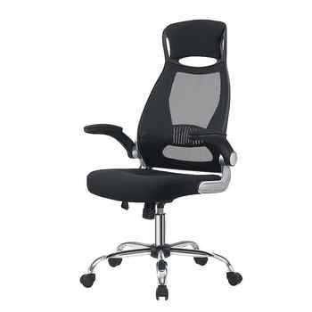 Office Chair Black Swivel Mesh Computer Ergonomic Chair High Back With Foldable Armrest Head Support Height Adjustable A35 - Category 🛒 Furniture
