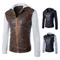 2016 knitted sleeve hooded men short paragraph Slim washed leather motorcycle