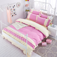 Elegant princess Korean style bedding set lace ruffle duvet cover bed skirt bedspread bow wedding decoration home bedding