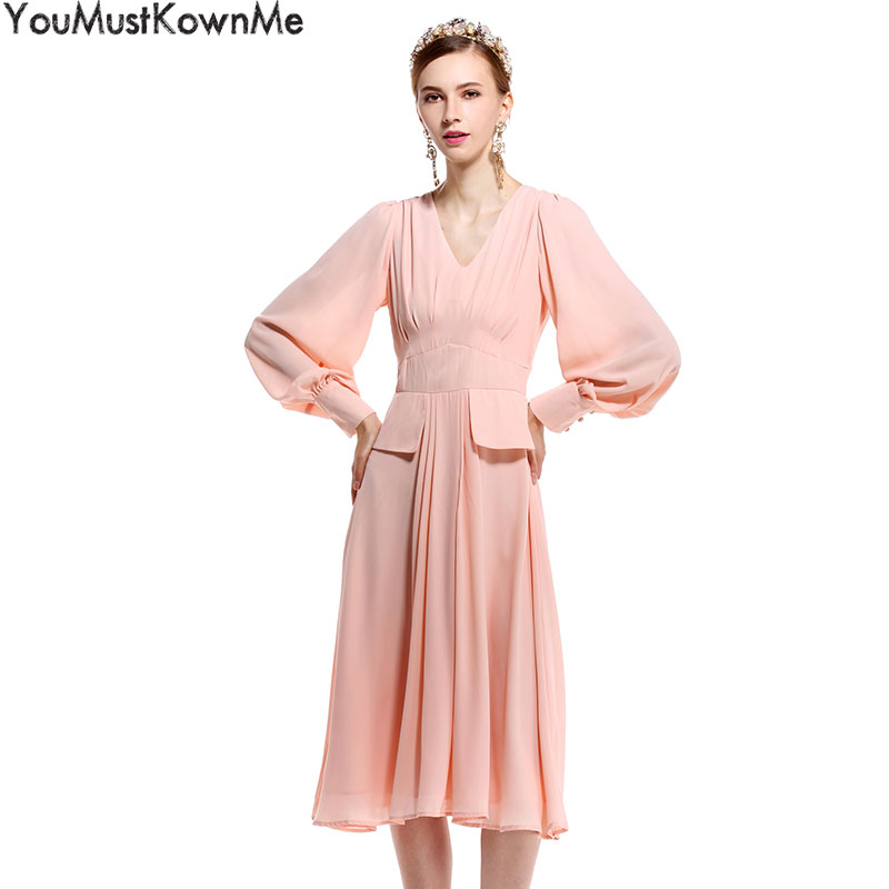 YouMustKnowMe 2018 princess kate middleto dresses women v-veck patchwork lantern sleeve dress ladies party pink elegant dresses