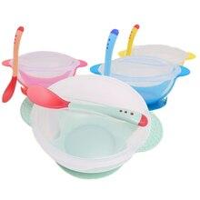 Детская миска для кормления+ ложка, набор, мультяшная посуда для кормления детей, анти-Горячая тренировочная тарелка, посуда, инструменты для еды
